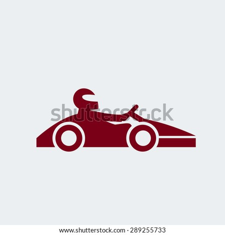 Kart with driver in helmet. Auto racing, motorsports, automobile concept. Open-wheel motorsport car, go-kart icon. Vector illustration eps 8 on grey background. For your design and business. - stock vector