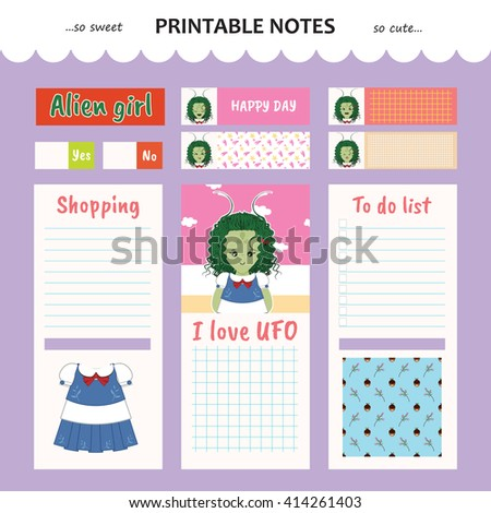 Kawaii and cute set vector design elements for notebook, diary, sticker, label, tag, paper, memo with alien girl illustration. Shopping, to do list. Violet, lilac color theme - stock vector