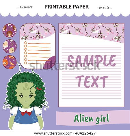 Kawaii and cute set vector printable paper for diary, notebook, letters. Alien girl stickers and illustration. Festive childish cartoon design. Lilac color theme - stock vector