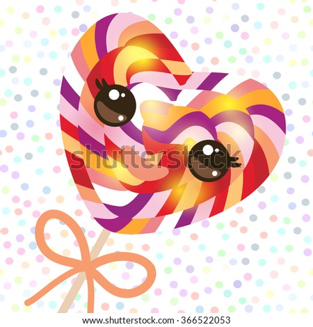 Kawaii colorful candy lollipop with bow, spiral candy cane. Candy on stick with twisted design with pink cheeks and winking eyes, pastel colors polka dot background. Vector - stock vector
