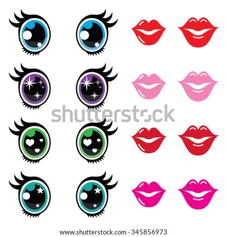 Kawaii cute eyes and lips icons set, Kawaii character - stock vector