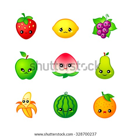 Kawaii fruits icons or stickers with emotions - stock vector