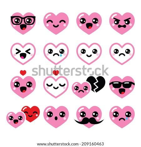 Kawaii hearts, Valentine's Day cute vector icons set  - stock vector