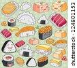 Kawaii japanese cuisine clip art - stock vector