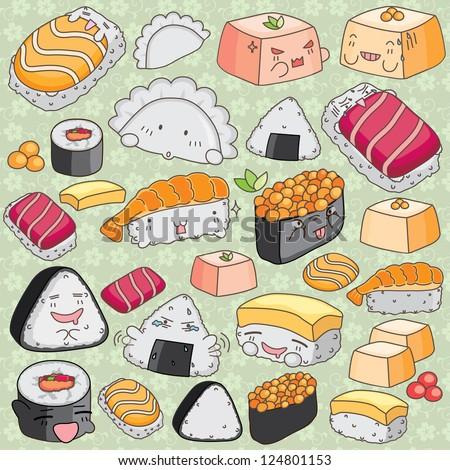 Japanese food design flat banner japanese sushi chinese food japan - Kawaii Japanese Cuisine Clip Art Stock Vector