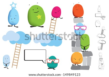 kawaii japanese style cute monsters in business ideas. - stock vector