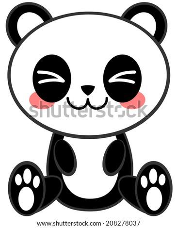 Kawaii Panda - stock vector