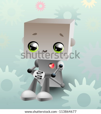 kawaii robot - stock vector