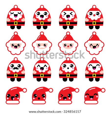 Kawaii Santa Claus cute character icons - head, body, Santa's hat - stock vector