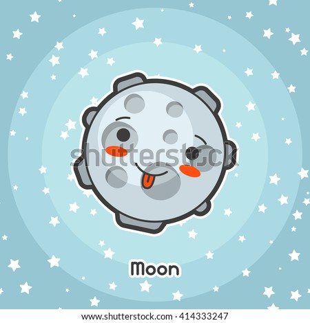 Kawaii space card. Doodle with pretty facial expression. Illustration of cartoon moon in starry sky. - stock vector