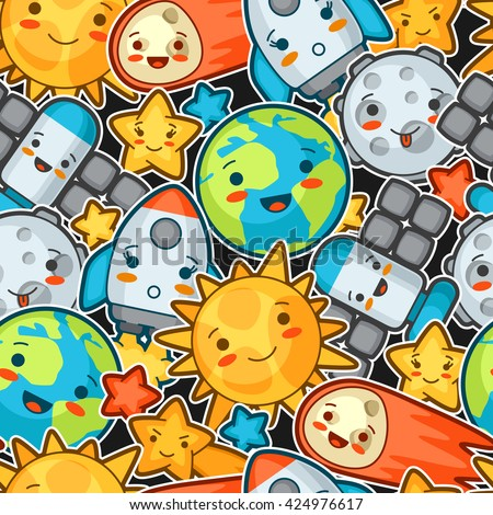 Kawaii space seamless pattern. Doodles with pretty facial expression. Illustration of cartoon sun, earth, moon, rocket and celestial bodies. - stock vector