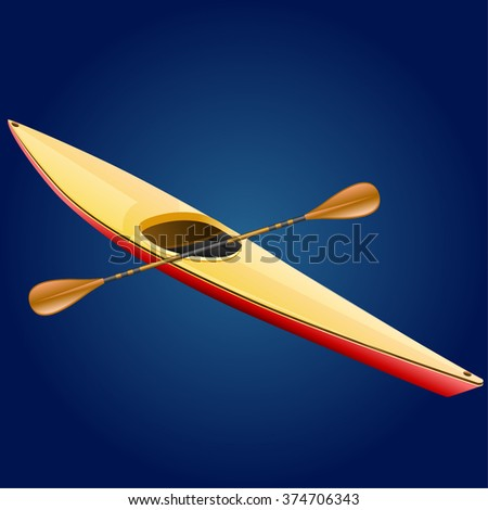 Kayaking - Illustration - stock vector