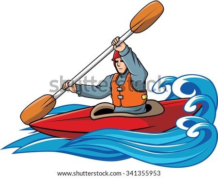 Sea kayaking clipart