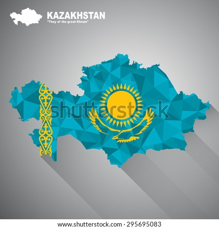 Kazakhstan flag overlay on Kazakhstan map with polygonal and long tail shadow style (EPS10 art vector) - stock vector