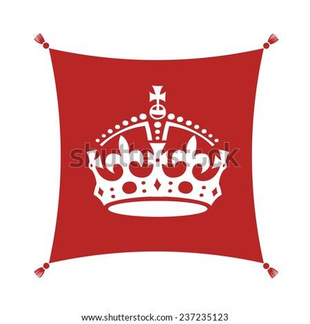 Keep Calm Crown  Symbol on Cushion - stock vector