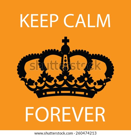 Keep calm poster orange color.  - stock vector