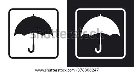 Keep dry packaging symbol. Two-tone version on black and white background - stock vector