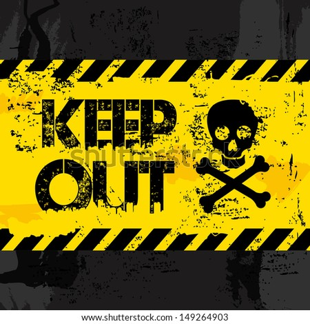 keep out over black background vector illustration  - stock vector