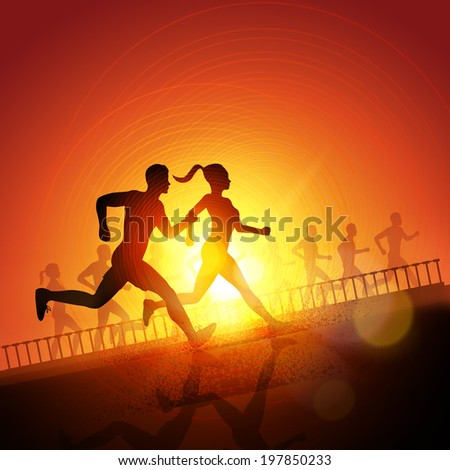 Keep Running - Group Of Runners, men and women running to keep fit. Vector illustration. - stock vector
