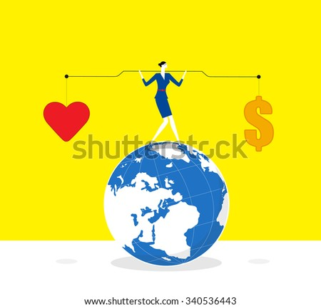 Keeping balance-A business woman lifts up lever,one side is heart and the other is money. she keeps balance and stands on a earth.  - stock vector