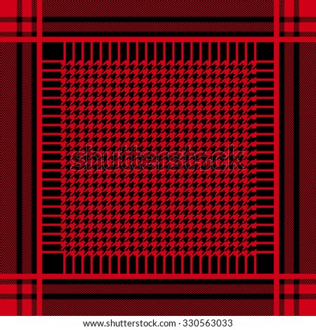 Keffiyeh vector seamless pattern. Traditional Middle Eastern headdress. Shemagh military textile collection. Red on black. Backgrounds & textures shop.  - stock vector