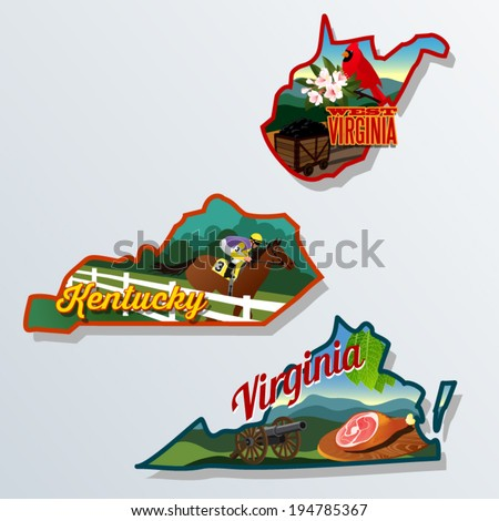 Kentucky, Virginia, West Virginia illustrations retro luggage stickers - stock vector