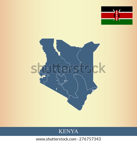 Kenya flag and map outlines with boundaries of counties or provinces or states on an abstract background, vector map of Kenya with Kenyan Flag  - stock vector