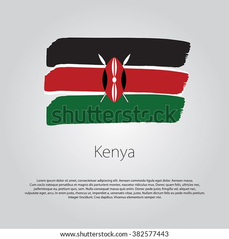 Kenya Flag with colored hand drawn lines in Vector Format - stock vector