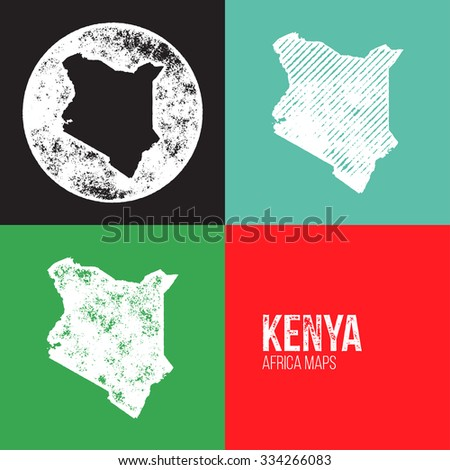 Kenya Grunge Retro Maps - Africa - Three silhouettes Kenya maps with different unique letterpress vector textures - Infographic and geography resource - stock vector