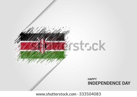 Kenya Happy independence day scribble flag. Hand drawn Country flag on Gray crumbled paper. vintage background wallpaper vector illustration. - stock vector