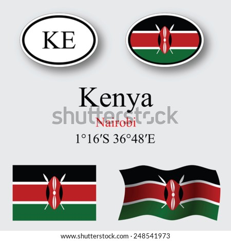 kenya icons set against gray background, abstract vector art illustration, image contains transparency - stock vector