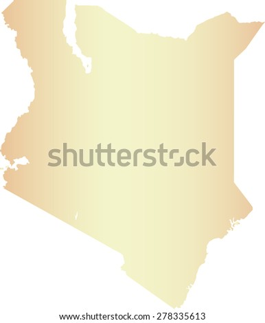 Kenya map outlines, vector map of Kenya in contrasted light color - stock vector
