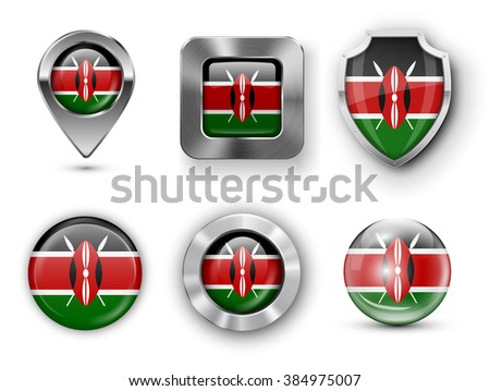 Kenya Metal and Glass Flag Badges, Buttons, Map marker pin and Shields. Vector illustrations - stock vector