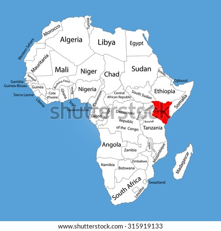 Kenya vector map silhouette isolated on Africa map. Editable vector map of Africa. - stock vector