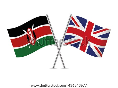 Kenyan and British flags. Vector illustration. - stock vector