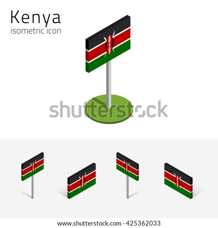 Kenyan flag (Republic of Kenya), vector set of isometric flat icons, 3D style. African country flags. Editable design elements for banner, website, presentation, infographic, poster, map, card. Eps 10 - stock vector