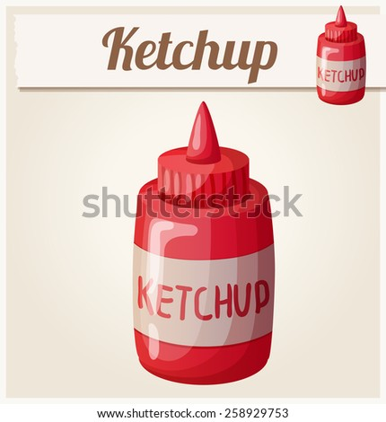 Ketchup. Detailed Vector Icon. Series of food and drink and ingredients for cooking. - stock vector