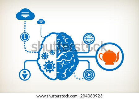 Kettle and abstract human brain, the concept of the information movement - stock vector