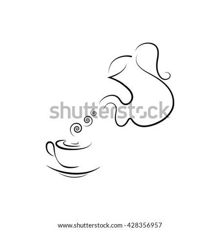 Kettle and coffee cup of hot drink. Line art - stock vector