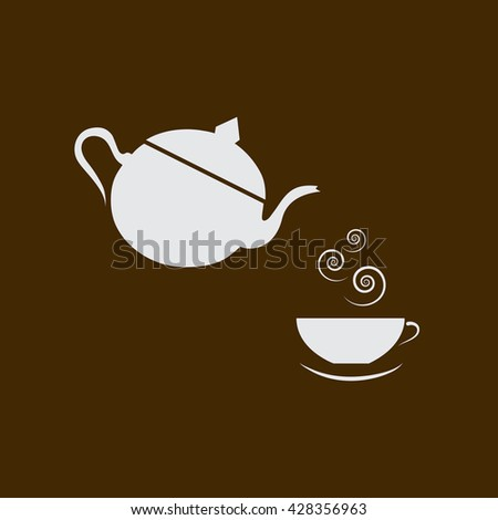 kettle and coffee cup or tea of hot drink - stock vector