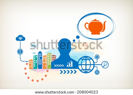 Kettle and person with bubbles for dialogue. Think and decide. - stock vector