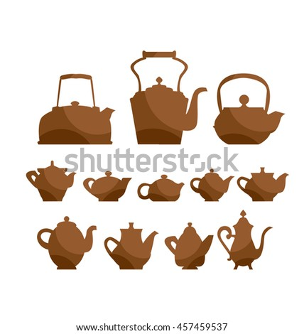 kettle teapot icon set. tableware  symbol vector illustration. vintage antiques collection - stock vector