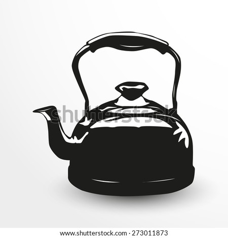 Kettle. Vector illustration. Black and white view. - stock vector