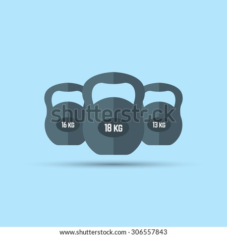 Kettlebells size. three kettlebells, vector flat element on blue background, fitness and healthy lifestyle - stock vector