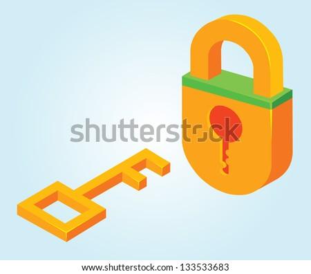 key and padlock - stock vector