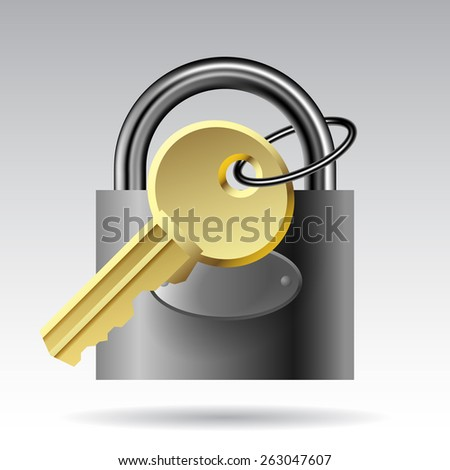 Key and padlock website icon. Vector illustration - stock vector