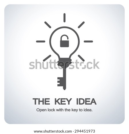 Key bulb to new idea. Open lock with the key to idea. Icon symbol design. Vector illustration. - stock vector
