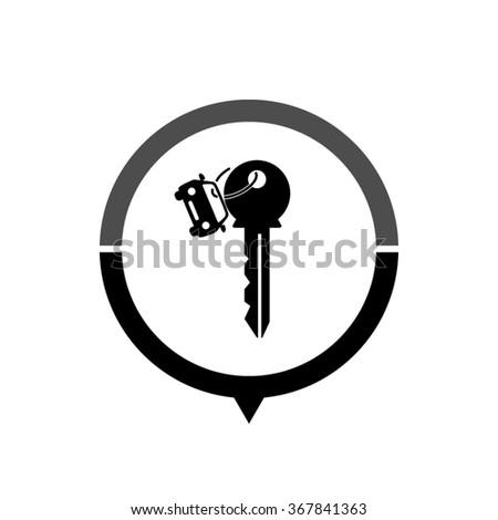 Key car - black vector icon; map pointer;  message bubble - stock vector