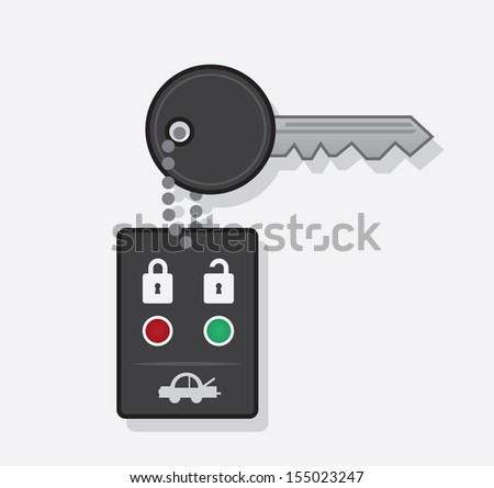Key car chain with remote  - stock vector