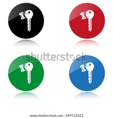 Key car - color vector icon - stock vector